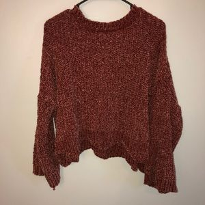 Oversized crop burnt red sweater